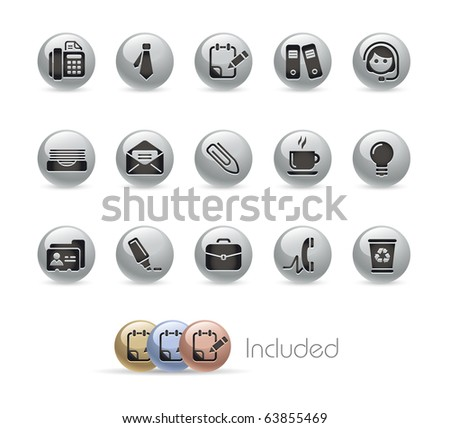 Office & Business // Metal Round Series --- It includes 4 color versions for each icon in different layers--- - stock vector