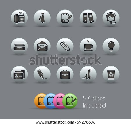 Office & Business // Pearly Series -------It includes 5 color versions for each icon in different layers --------- - stock vector