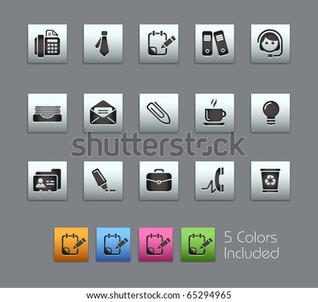 Office & Business // Satinbox Series -------It includes 5 color versions for each icon in different layers --------- - stock vector