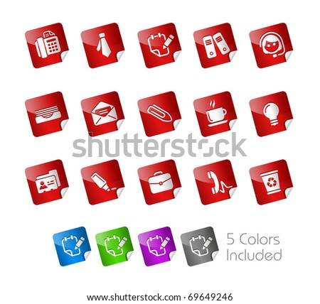 Office & Business // Stickers Series -------It includes 5 color versions for each icon in different layers --------- - stock vector
