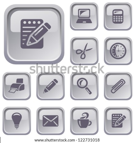 Office button set - stock vector