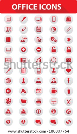 Office buttons,Red version,vector - stock vector
