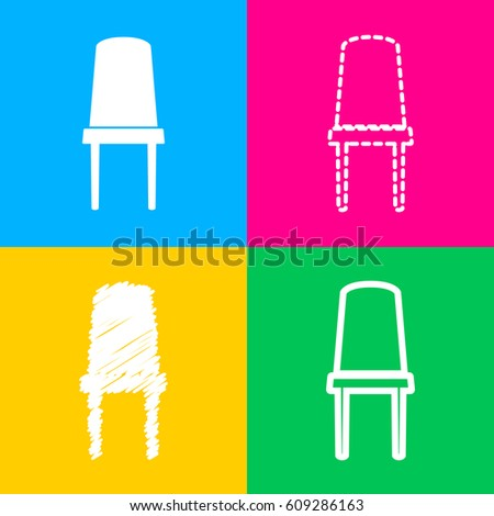 Office Chair Sign Four Styles Icon Stock Vector 609286163