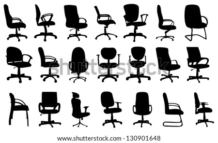 Office chairs silhouettes vector illustration - stock vector
