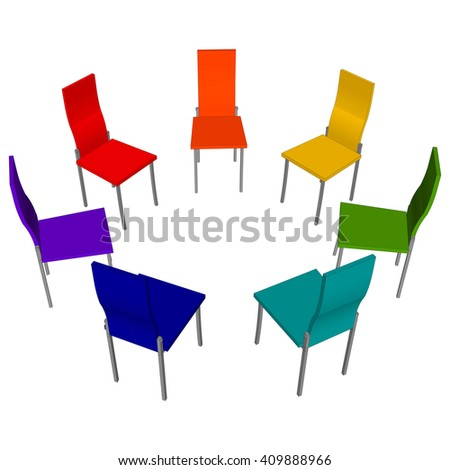 Office Chairs Standing In A Circle Painted In The Colors Of The Rainbow.  Vector Illustration