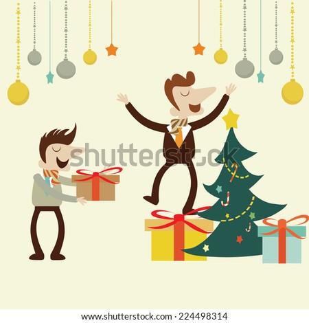 Office Christmas party.Vector cartoon design. - stock vector