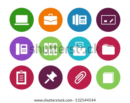 Office circle icons on white background. Vector illustration. - stock vector