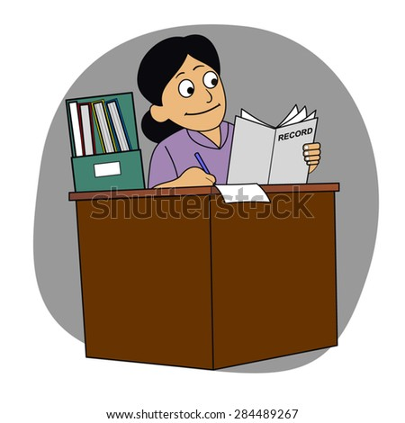Office clerk writing on paper - recording information on a sheet of paper