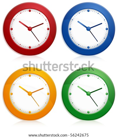 Office color wall clock on white background, vector illustration - stock vector