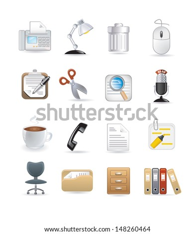 office computer icons - stock vector