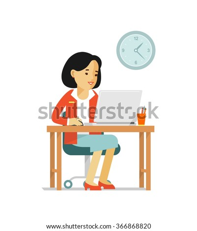 Office computer internet work concept. Young woman sitting at the computer desk with laptop and working - stock vector