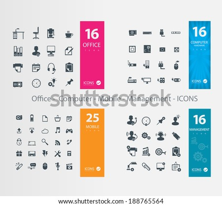 Office Computer Mobile Management ICONS - stock vector