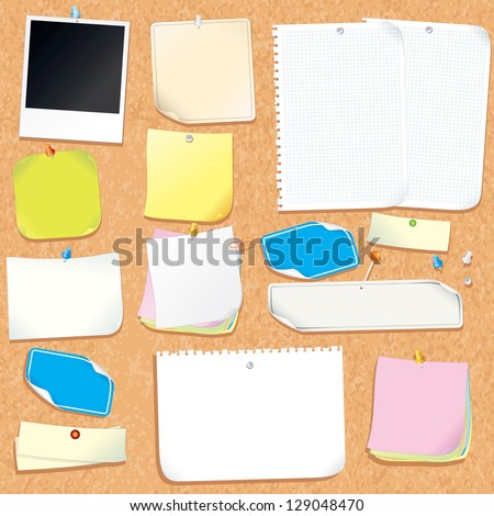 Office Cork Board With Blank Notes and Stickers. Vector Image - stock vector
