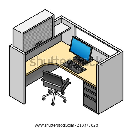 Office Cubicle: Mid Height Partitions With Window, Drawer Unit, Partition  Mounted Shelf And