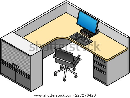 office cubicle with a drawer unit and storage cabinet low partitions