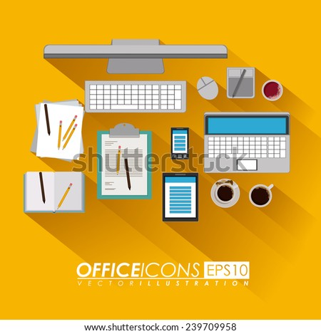 office design over yellow background, vector illustration. - stock vector