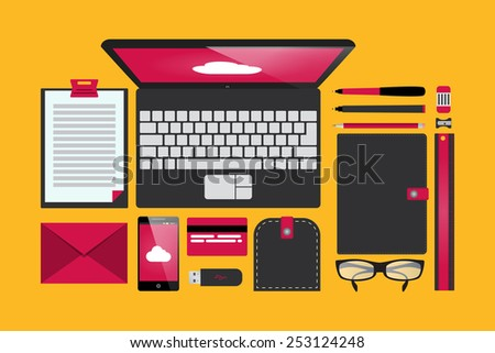 Office desk equipment and workspace concept with flat modern design - stock vector