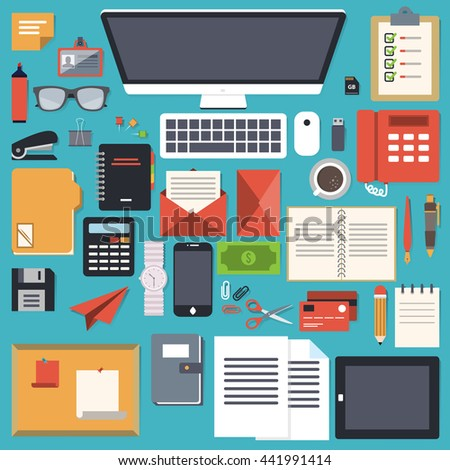 office desk stationery flat object
