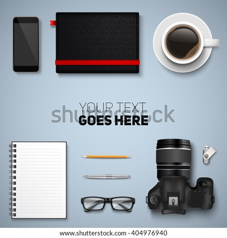 Office desk table with photo camera, glasses, graphic tablet, pencil, pen, notebooks, flash drive, phone and coffee cup. Top view with copy space. Eps10 vector template. - stock vector