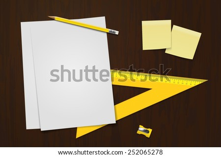 Office desk vector. - stock vector