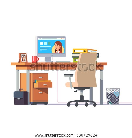 Office desk with a computer, comfortable chair and a pedestal drawer. Flat style modern vector illustration. - stock vector