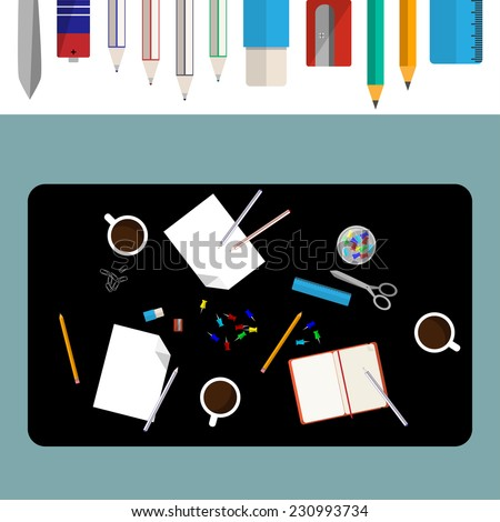 Office desk with pen, eraser, ruler, sharpener, accumulator, scissors, pin, clip, pencil, blank paper, open notepad and coffee cup top view background with a set of office supplies masked. - stock vector