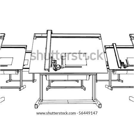 Office Desks For Drawing Vector 04 - stock vector