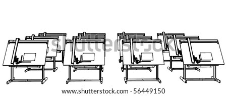 Office Desks For Drawing Vector 06 - stock vector
