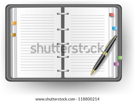 Office diary notebook and notepad organizer with line and a ballpoint pen, create by vector