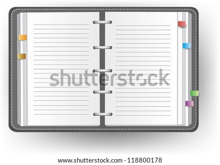 Office diary notebook and notepad organizer with line, create by vector