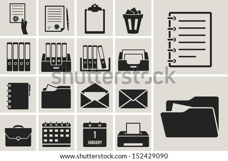 office document and paper black icons set - stock vector