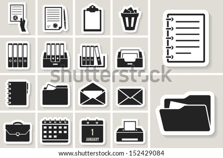 office document and paper icon set. paper sticker - stock vector
