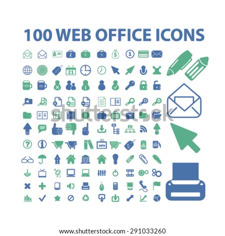 office, document, business isolated icons, signs, illustrations on white background for website, internet, mobile application, vector - stock vector
