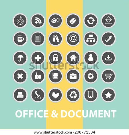 office, document, internet black flat icons, signs, symbols set, vector - stock vector