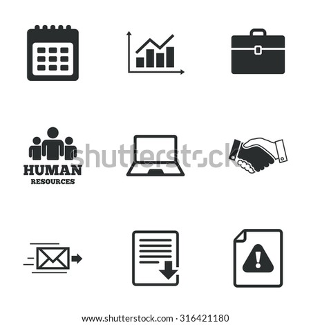Office, documents and business icons. Human resources, handshake and download signs. Chart, laptop and calendar symbols. Flat icons on white. Vector - stock vector