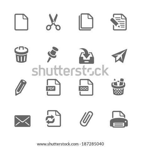 Office & Documents Icon set - stock vector