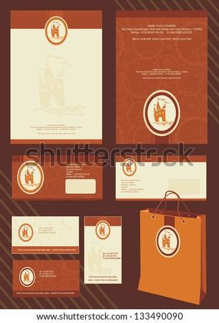 Office elements and accessories for Your company. Vector Corporate identity business kit with artistic elements - stock vector