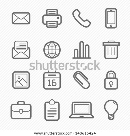office elements symbol line icon set on white background vector illustration - stock vector