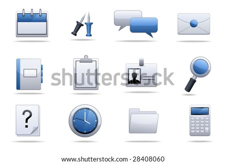 Office end business icons - stock vector