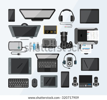 office equipment flat icons high tech stock vector royalty free 320717909 shutterstock. Black Bedroom Furniture Sets. Home Design Ideas