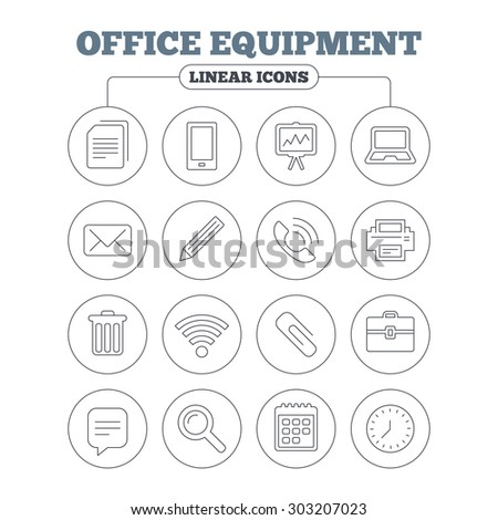 Office equipment icons. Computer, printer and smartphone. Wi-fi, chat speech bubble and copy documents. Presentation board, paperclip with pencil and magnifying glass. Circle buttons on white. Vector