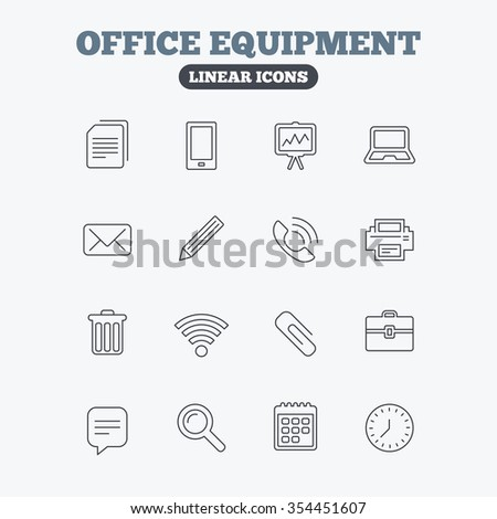 Office equipment icons. Computer, printer and smartphone. Wi-fi, chat speech bubble and copy documents. Presentation board, paperclip with pencil and magnifying glass. Linear icons on white.