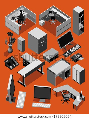 office equipment isometric. set of vector icon on black white  - stock vector