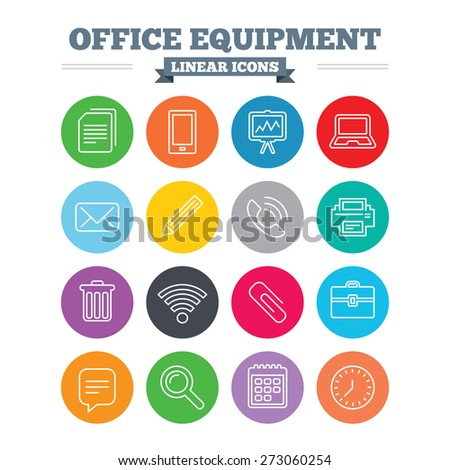 Office equipment linear icons. Computer, printer and smartphone. Wi-fi, chat speech bubble and copy documents. Presentation board, paperclip with pencil and magnifying glass. Flat circles