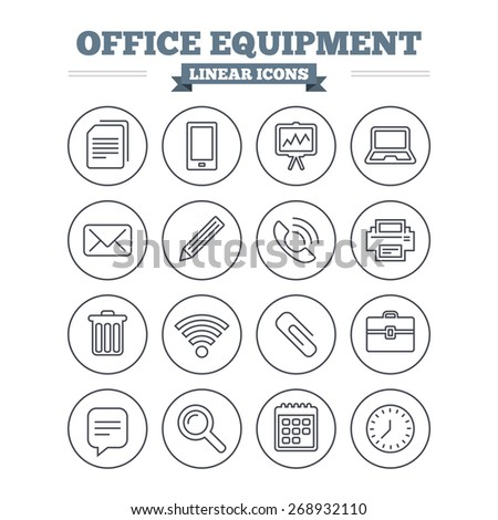 Office equipment linear icons set. Computer, printer and smartphone. Wi-fi, chat speech bubble and copy documents. Presentation board, paperclip with pencil and magnifying glass. Thin outline signs.