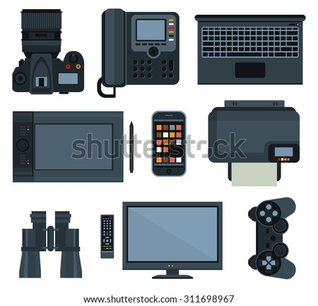 Office equipment set of vector icon flat style