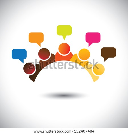 office executives ( employees ) meetings, discussions, opinions- vector graphic. This illustration represents staff members meetings, group discussions, brain storming, airing opinions, teamwork, etc