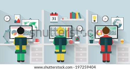 Office. Flat style vector illustration. - stock vector