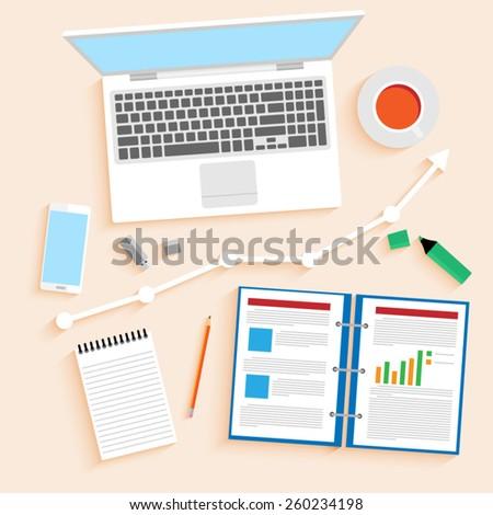 Office  flat vector. - stock vector