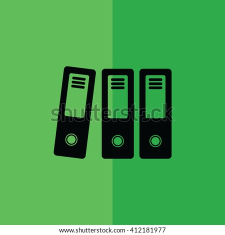 Office folders / archive icon on green background vector illustration